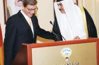 Der kuwaitische Außenminister Scheich Sabah Al-Khalid Al-Sabah mit seinem deutschen Amtskollegen Außenminister Westerwelle